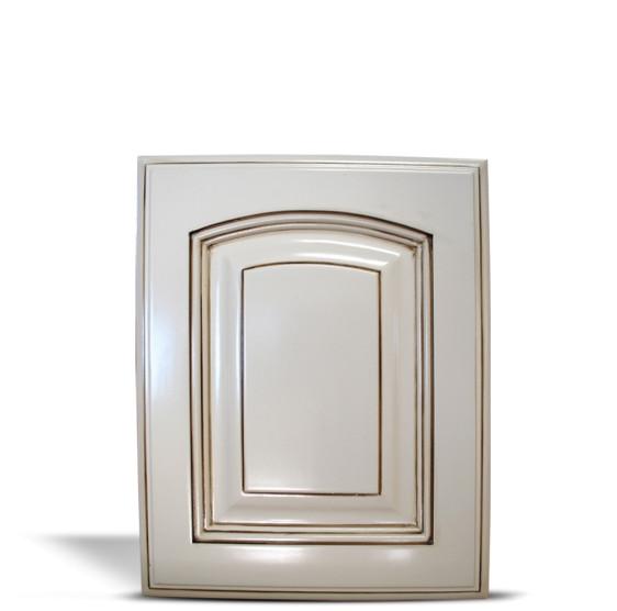 - Roman Arch Door Antique White Walnut Glaze - Classic Cabinet Doors
