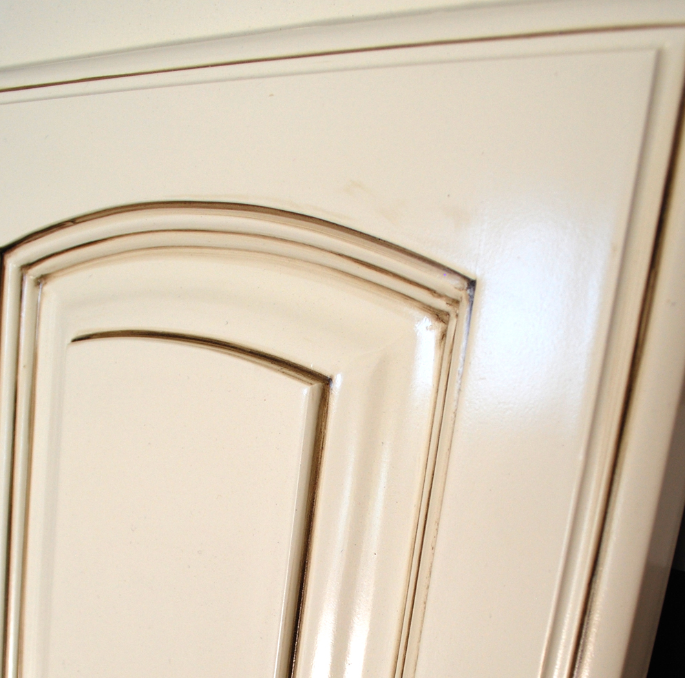Previous; Next - Roman Arch Door Antique White Walnut Glaze - Classic Cabinet Doors